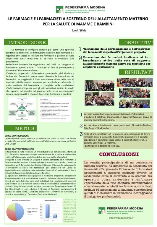 Federfarma Modena a sostegno dell'allattamento materno (2016)
