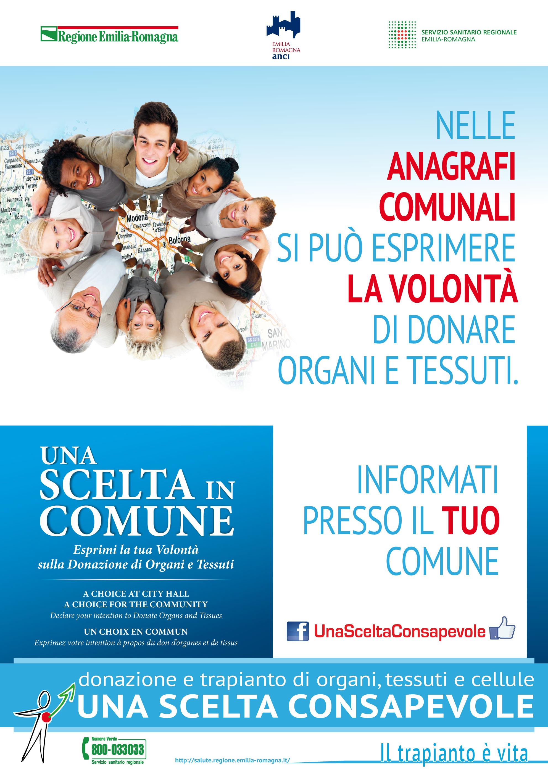 """Il manifesto """"Una scelta in Comune"""" (Campagna per promuovere la donazione e il trapianto, 2015)"""