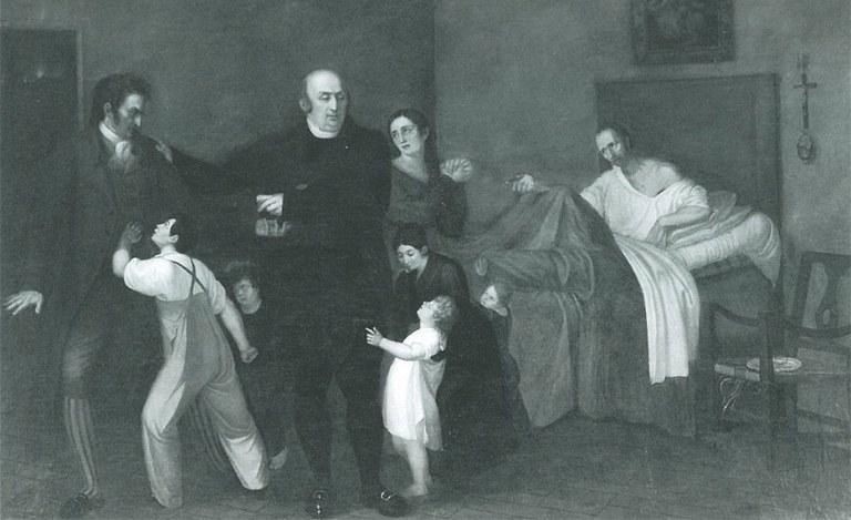 """Lorenzo Toncini """"Il marchese Bernardino Mandelli visita un infermo povero"""", Azienda Usl di Piacenza"""