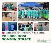 Vaccinazione anti-covid 19, 200mila dosi in provincia di Modena