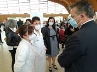 Vaccinazioni anti covid-19: la visita dell'assessore regionale Donini ai centri vaccinali di Parma a Moletolo e di Fidenza all'Ospedale di Vaio